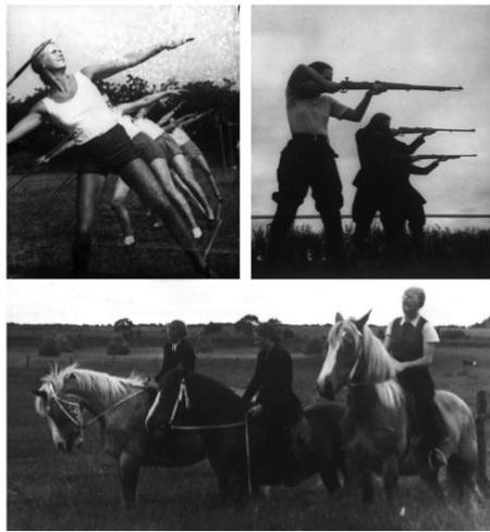Prática de atletismo, tiro e equitação na Escola colonial de Rendsburg no período entre-guerras. Koloniales Bildarchiv der Stadt- und Universitätsbibliothek Frankfurt a.M