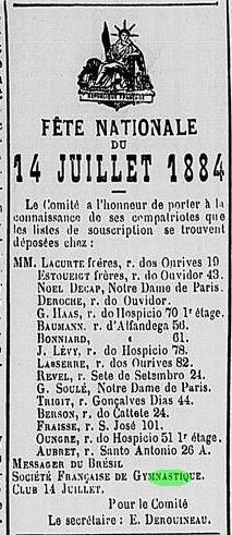 Le Messager du Brésil, 13 de junho de 1884