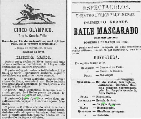 Composição com as programações do Circo Olympico (Correio Mercantil, 28/09/1856, p.4) e do Theatro Lyrico Fluminense (Correio Mercantil, 02/03/1862, p.4).