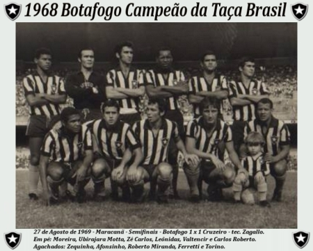 Equipe do Botafogo, campeã da Taça Brasil de 1968.