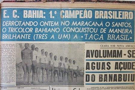 Jornal de 1959 estampando a conquista do Bahia da 1ª Taça Brasil