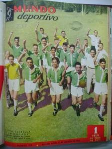 """Capa de Mundo Deportivo, com a equipe de Santa Fé, """"Evita, Estrela da Manhã""""."""