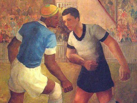 Futebol (1936, óleo s/tela, 86cm x 56cm), Francisco Rebolo Gonzales (1902-1980) – figura retirada da 4 edição do Livro o Negro no Futebol Brasileiro – MAUAD – 2003