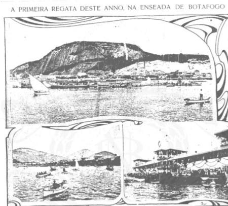 Fotos de regatas realizadas na Praia de Botafogo, publicadas em Careta, ano 1, número 2, junho de 1908