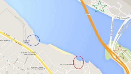 Em vermelho, o Iate Clube de Ramos. Em azul, o Carioca Iate Clube. Em verde, o aeroporto internacional. Em marrom, a UFRJ.
