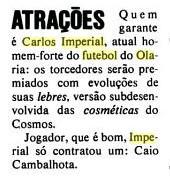 Crítica da Placar (1 fev. 1980) à atuação de Imperial
