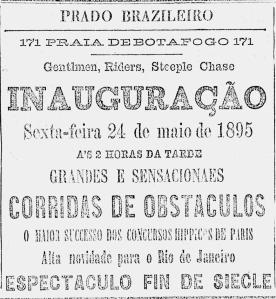 Anúncio do Prado Brasileiro (O Paiz, 22/5/1895, p.8)