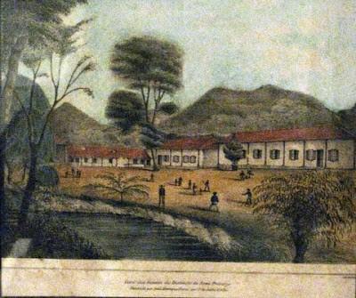 Meninos jogando críquete Vista dos fundos do Instituto de Nova Friburgo, 1843 Litografia da oficina Ludwig & Briggs