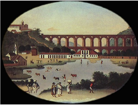 Vista da Lagoa do Boqueirão e do Aqueduto de Santa Teresa (Arcos da Lapa). Leandro Joaquim. Óleo sobre tela, 86 x 105 cm, ca. 1790. Acervo Museu Histórico Nacional.