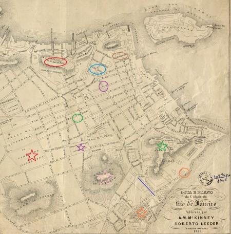 No mapa de 1858, vemos circundados os locais aproximados de estabelecimentos que ofereciam o jogo da bola. Em vermelho, a Rua do Jogo da Bola. Em azul, o Beco dos Cachorros. Em marrom, a Rua de Bragança. Em lilás, a Rua dos Ourives com São Pedro. Em verde, a Rua do Hospício. Em laranja, a Praia de Santa Luzia. A linha azul indica uma possibilidade de localização do estabelecimento da Chácara de Nossa Senhora da Ajuda. A estrela vermelha indica o Campo de Santana, a lilás a atual Praça Tiradentes, a verde o Morro do Castelo, a rosa o Morro de Santo Antônio e a laranja o Passeio Público.